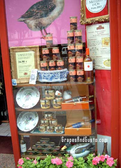 Pate and foie gras on sale at gourmet purveyor Comtesse du Barry in Paris.