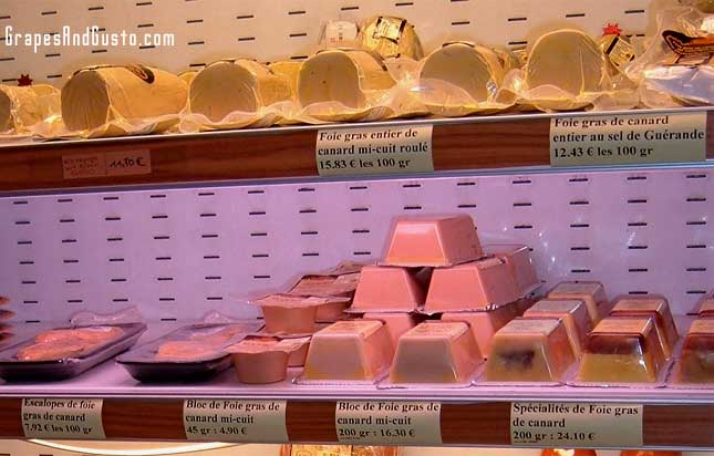A selection of foie gras products at a Paris shop.