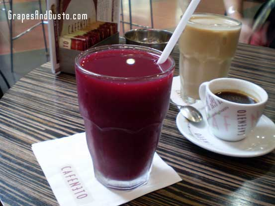 Velvety jewel: A tall glass of fresh-squeezed pomegranate juice at Cafe Neto in Tel Aviv's Dizengoff Center.